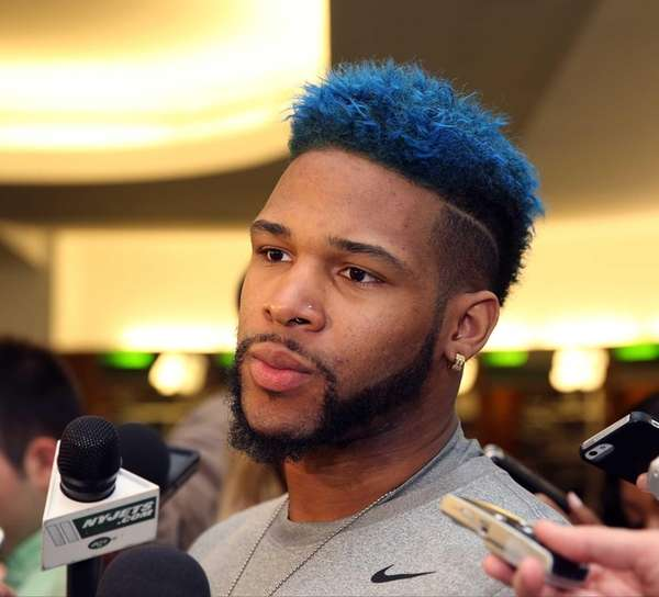 Jets tryout Terron Beckham speaks with reporters during