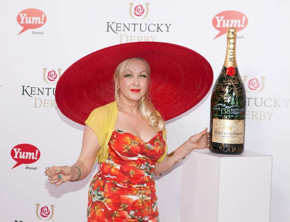 Cyndi Lauper with a limited edition 6 liter