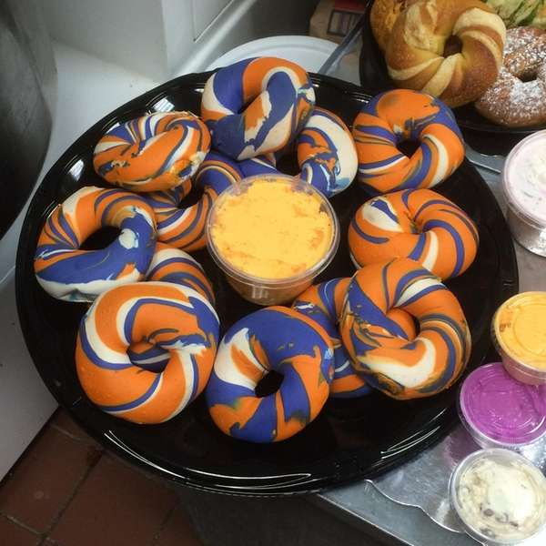 Islanders-themed bagels are prepared at The Bagel