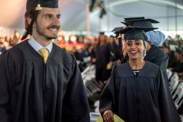 Graduates celebrate their graduation during Long Island University