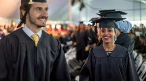 Graduates celebrate their graduation during Long Island University