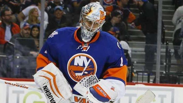 New York Islanders goalie Thomas Greiss (1) reacts