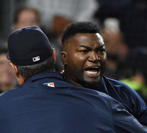 Boston Red Sox designated hitter David Ortiz comes