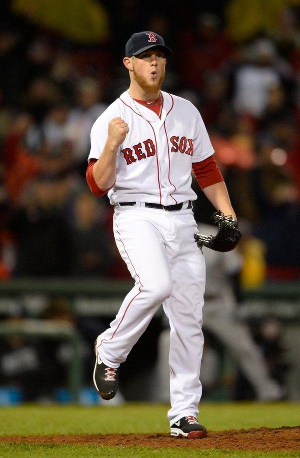 Boston Red Sox closer Craig Kimbrel gestures after