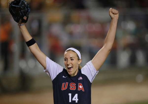 United States pitcher Monica Abbott celebrates after winning