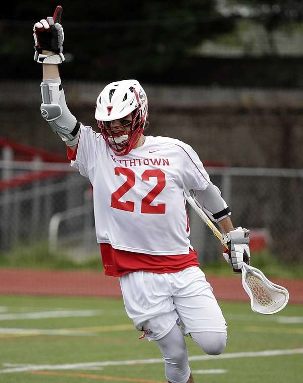 Smithtown East midfield Connor Desimone celebrates his score