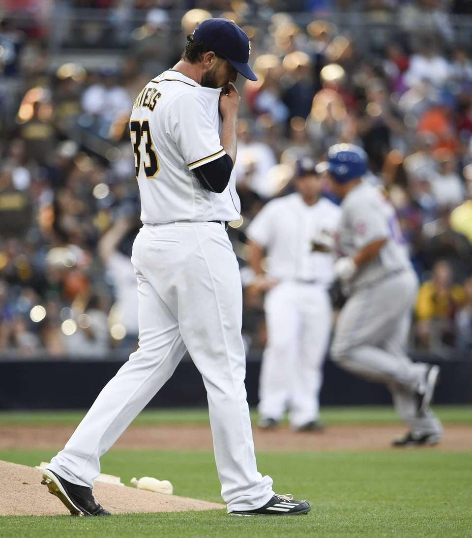 James Shields of the San Diego Padres steps