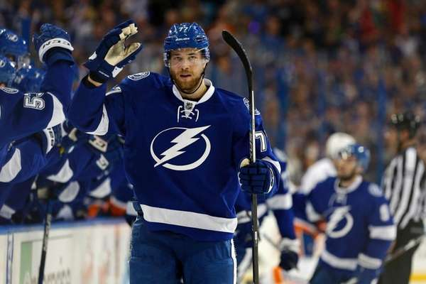 Victor Hedman #77 of the Tampa Bay Lightning