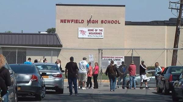 Scene outside Newfield High School in Selden where