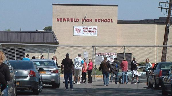 Scene outside Newfield High School in Selden where