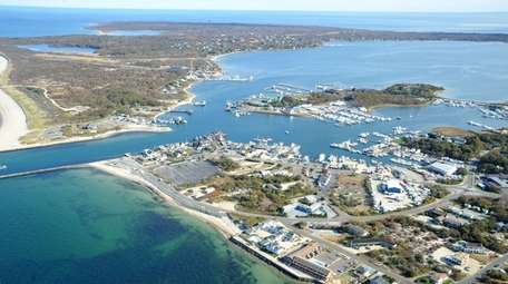 Aerial view of the properties being sold by