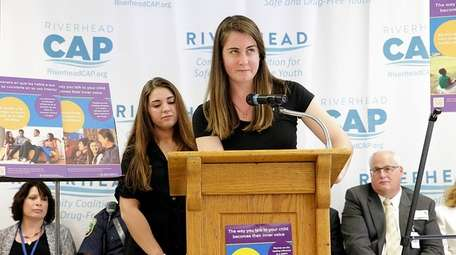 Riverhead seniors Stephanie Ambrosio, left, and Sammantha Dunn