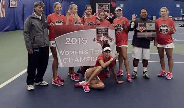 The NYIT women's tennis poses after winning the