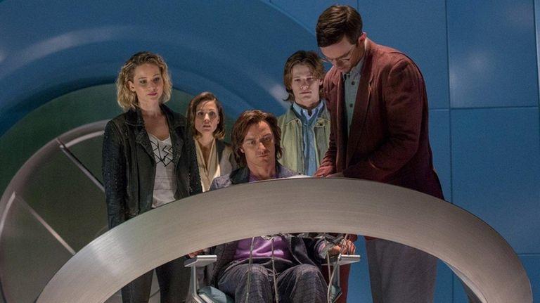 Jennifer Lawrence, left, Rose Byrne, James McAvoy, Lucas