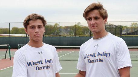 West Islip's Richie Racanelli, right, congratulates his twin