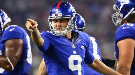 Brad Wing of the New York Giants reacts