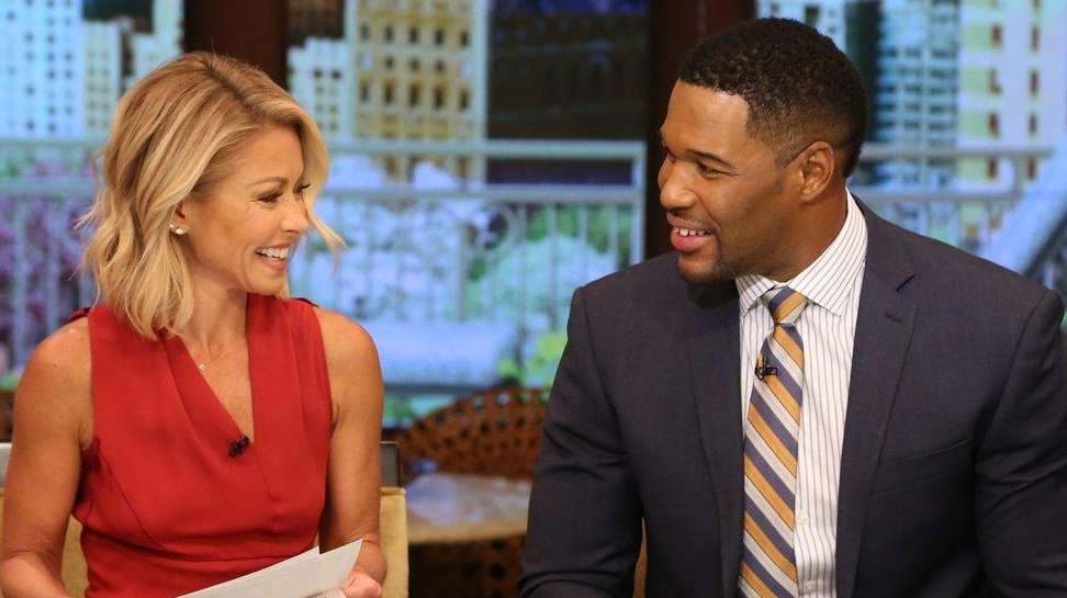 Kelly Ripa and Michael Strahan seen on April