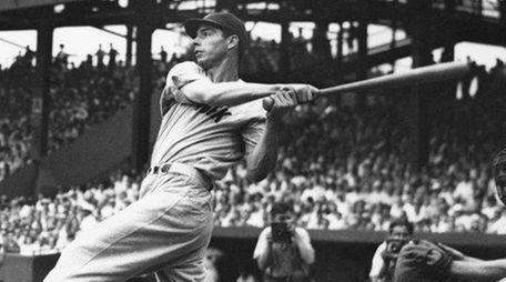 Joe DiMaggio hits at Griffith Stadium, Washington, D.C.