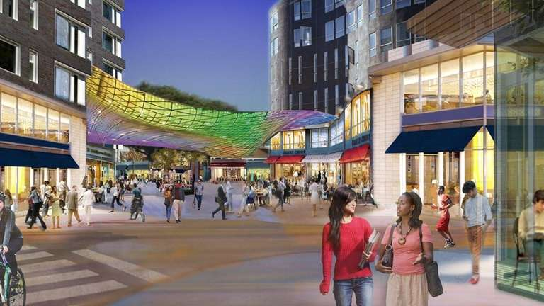 A rendering shows a proposed Hempstead Village redevelopment