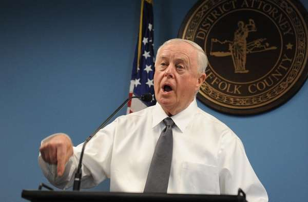 Suffolk District Attorney Thomas Spota reacts during a