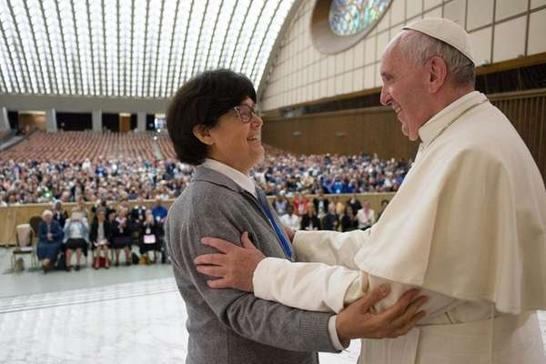Pope Francis embraces Sister Carmen Sammut at the