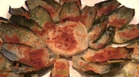 Artichoke gratin at La Coquille in Manhasset.