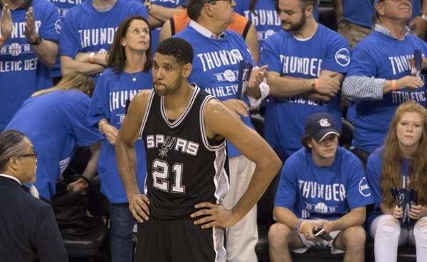 Tim Duncan of the San Antonio Spurs waits