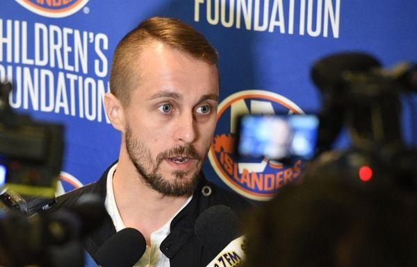 New York Islanders goalie Jaroslav Halak speaks to