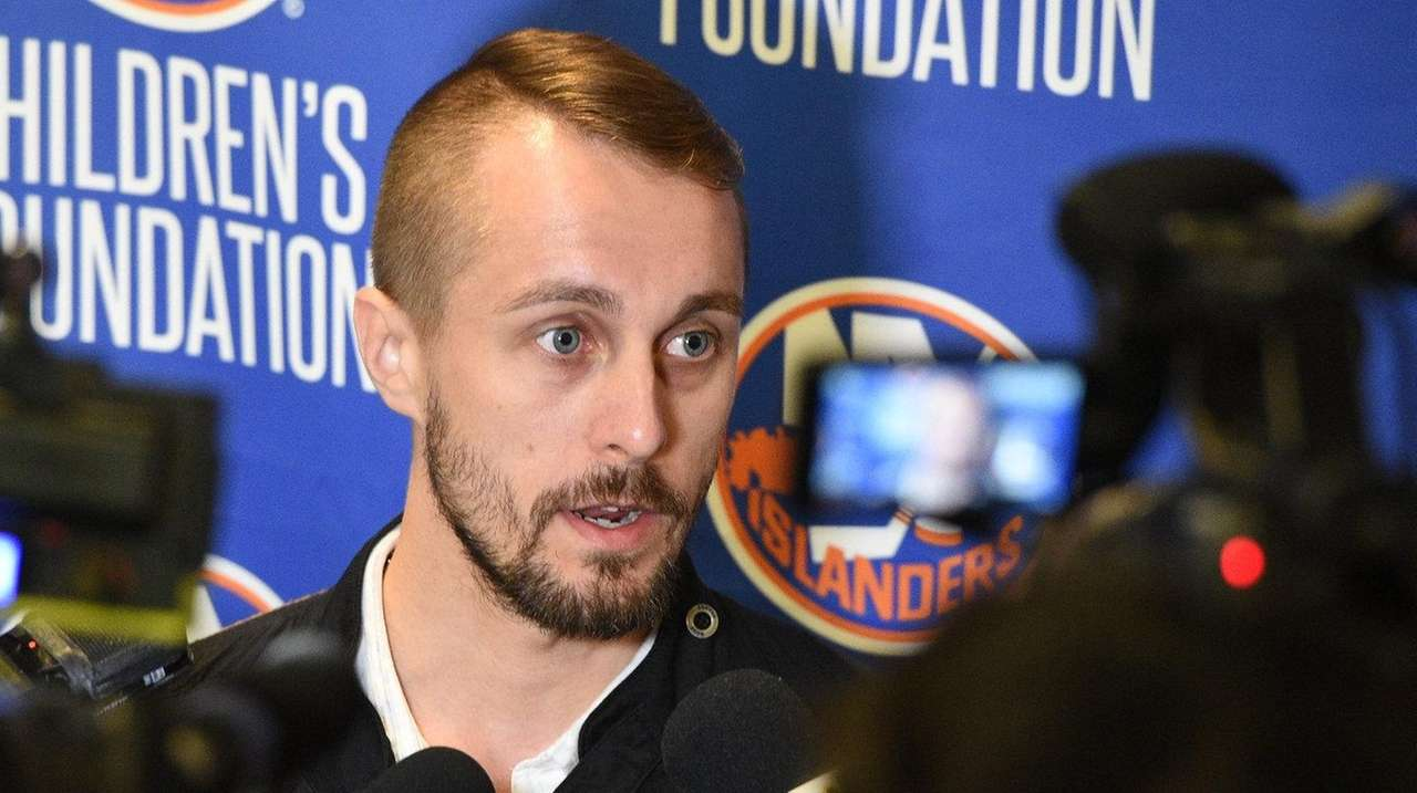 New York Islanders goalie Jaroslav Halak speaks to