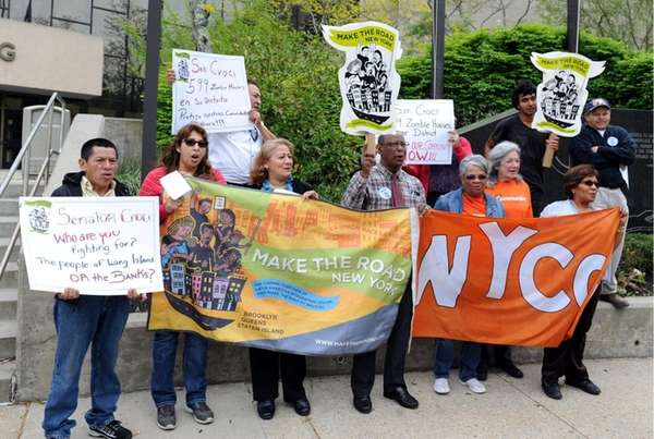 Activists demonstrate in front of the New York