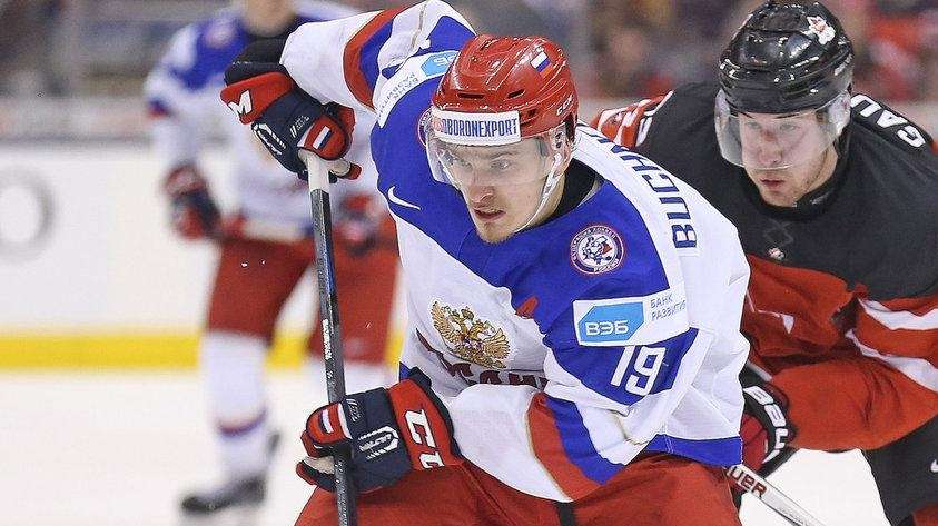 Pavel Buchnevich of Team Russia tries to break