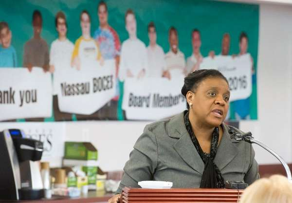 Uniondale resident Barbara Ford speaks to the Nassau