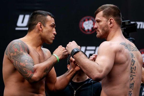 UFC heavyweight champion Fabricio Werdum of Brazil, left,
