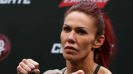 Cris Cyborg Justino of Brazil weighs in during