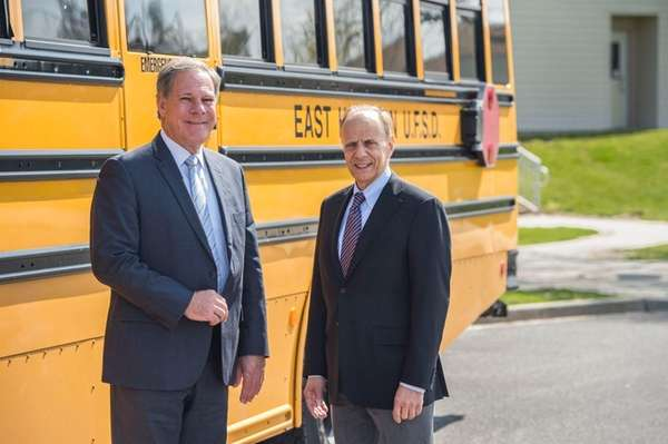 East Hampton Superintendent Richard Burns, left, and Springs
