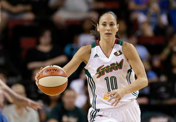 The Seattle Storm's Sue Bird brings the ball