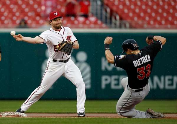 Washington Nationals second baseman Daniel Murphy makes a