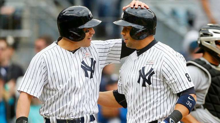 Carlos Beltran of the New York Yankees celebrates