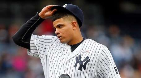 Yankees reliever Dellin Betances takes a deep breath