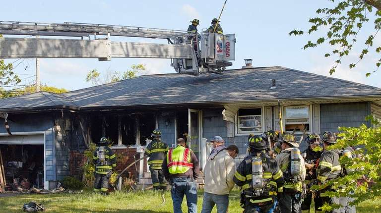 Firefighters at the scene of an early morning