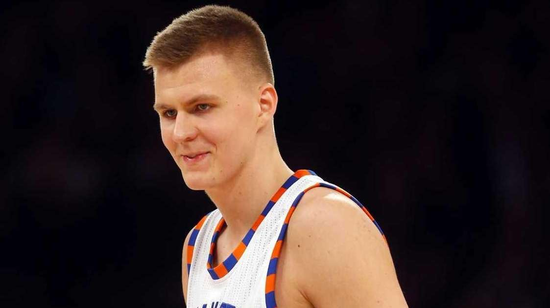 Kristaps Porzingis of the New York Knicks celebrates