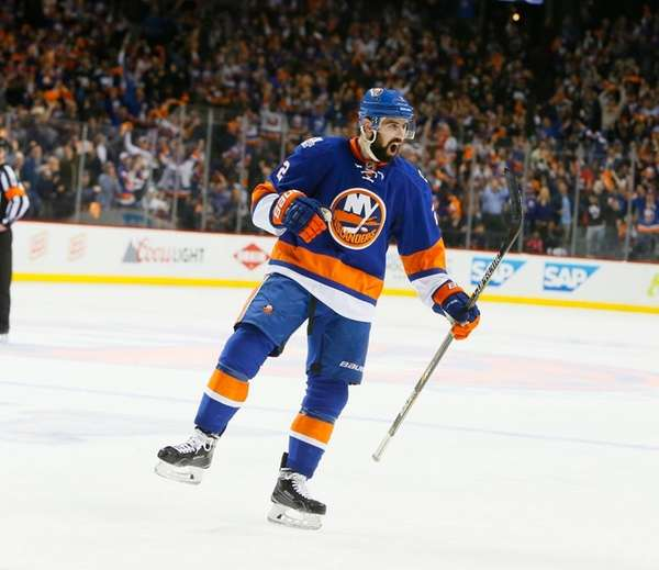 New York Islanders defenseman Nick Leddy celebrates the