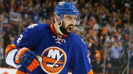 New York Islanders defenseman Nick Leddy celebrates the