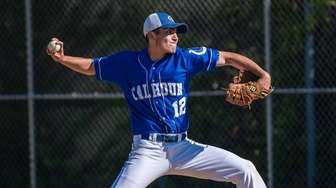 Calhoun starting pitcher Rob Bachus (12) delivers a