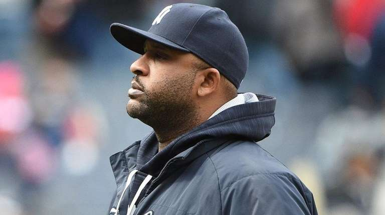 New York Yankees pitcher CC Sabathia looks on