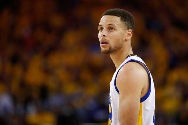 Stephen Curry of the Golden State Warriors looks