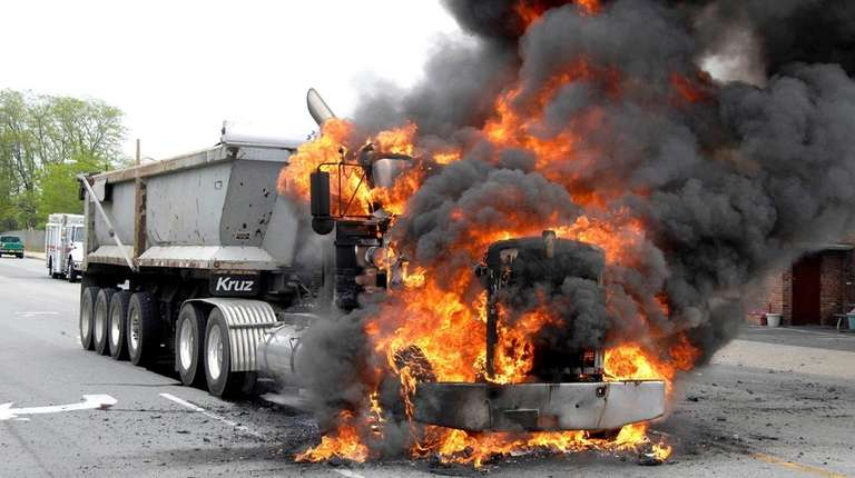 A tractor-trailer fire near the intersection of Duffy
