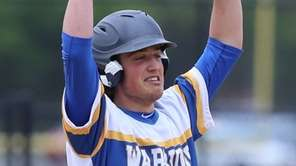 Matt Stiles #15 celebrates after hitting an RBI