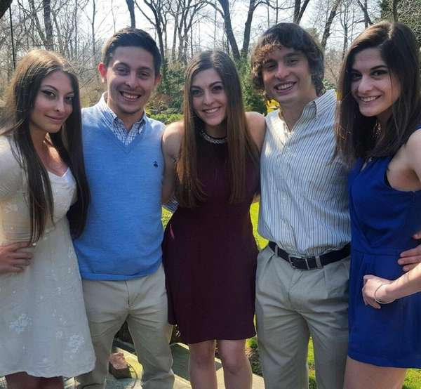 From left, the Carbone quintuplets: Brianna, Brandon, Francesca,