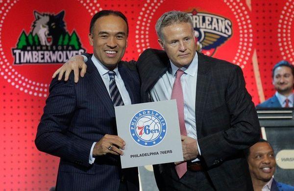 NBA deputy commissioner Mark Tatum, left, poses for